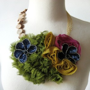 Multi-color ribbon and floral necklace