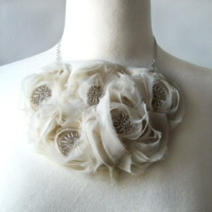 White floral and seed bead necklace