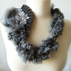 Grey floral and ribbon necklace