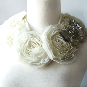 White and grey floral necklace
