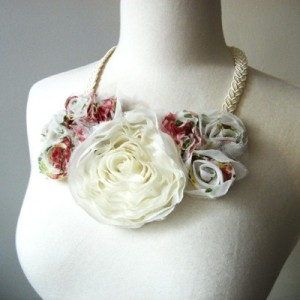 White and pink floral necklace