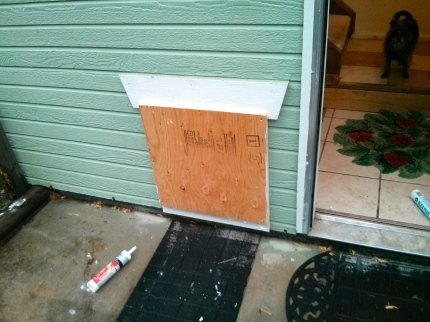Dog door all boarded up.